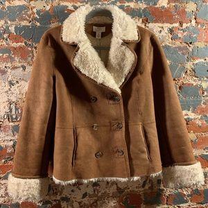 LOFT Brown / Cream Faux Sherpa Sheepskin Jacket